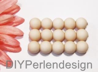 15 elfenbeinfarbene Acrylperlen, 12 mm