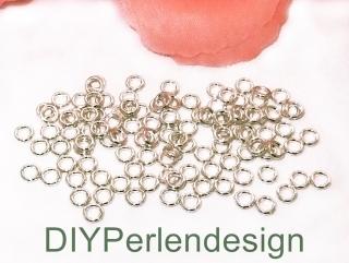 180 silberfarbene Biegeringe, Durchmesser 4 mm
