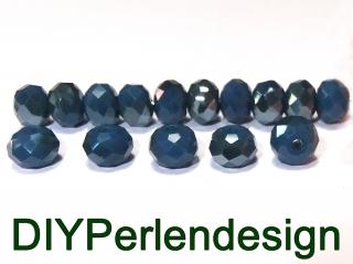 15 blaue, facettierte Rhomben, 5x4 mm, Glasperlen, Opak