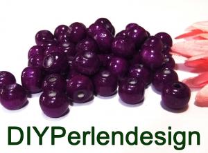 30 violette Holzperlen, 10 mm