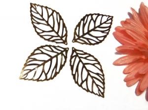 4 altmessingfarbene Blätteranhänger, 55 mm x 32 mm