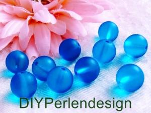 10 blaue Perlen, 10 mm, matte Perlen