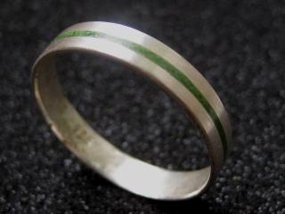 Silberring Grüner Streifen