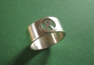Initial Silberring für Ihn mit Buchstabe - Handarbeit kaufen