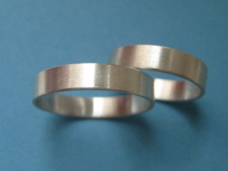 Silberringpaar/Silberringe schlicht Set - Handarbeit kaufen