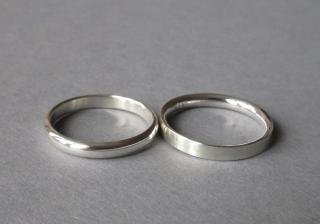 Silberringe matt & glatt Ringpaar Halbrundprofil