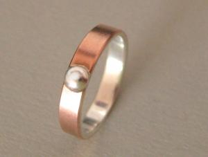 Kuppel Kupfer-Silber-Ring mit Silbercabochon