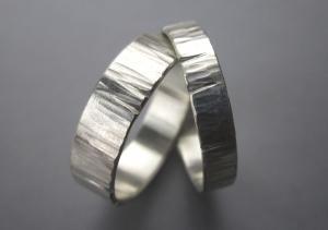 Silberringe-Set -extreme- strukturierte Ringe Ringpaar - Handarbeit kaufen