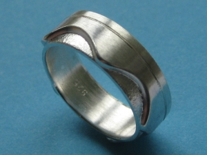 Silberring Wellen pur zweilagiger Ring - Handarbeit kaufen