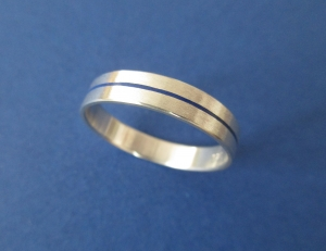 Silberring -Blaues Band- Ring mit farbigem Band