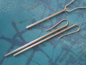 *S*-Stäbchen Ohrringe Set mit passendem Anhänger  - Handarbeit kaufen