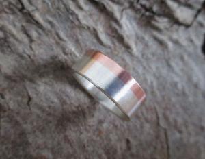-Zwei Farben- Kupfer-Silber-Ring - Handarbeit kaufen