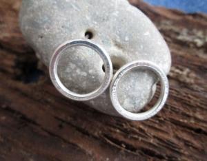 Ohrstecker -Großer Kreis- geschmiedete Silberohrstecker Paar - Handarbeit kaufen