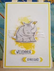 Wunderschöne Glückwunschkarte zur Geburt mit Nashorn-Motiv