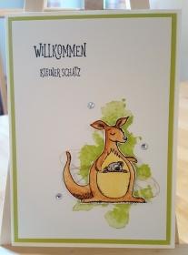 Wunderschöne Glückwunschkarte zur Geburt mit Kängeru und Koala