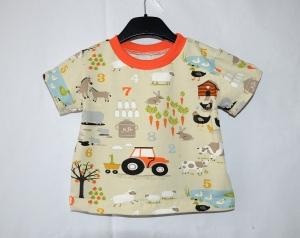 beige buntes Bauernhof T-Shirt