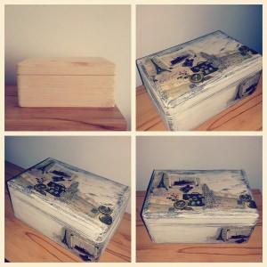 Handgemacht Box mit Serviettentechnik Vintage