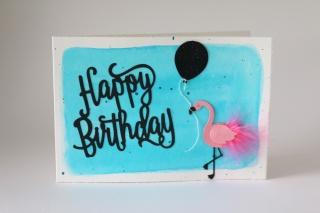 Geburtstagskarte, Glückwunschkarte Geburtstag, Flamingo