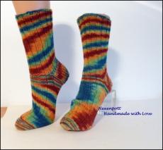 Socken handgestrickt aus handgefärbter Wolle   Gr. 40