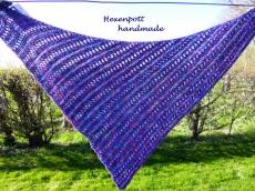 Dreiecktuch handgestrickt  Merino pink-blau
