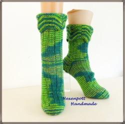handgestrickte Socken Gr. 41-42 aus handgefärbter Wolle
