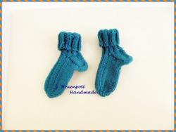 Babysocken handgestrickt Merino Gr.19-20 blau