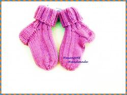 Babysocken handgestrickt Merino Gr.19-20 rosa