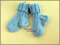 Babysocken handgestrickt♥ aus Merinowolle Gr.17-18