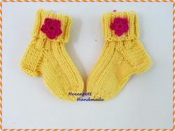 Babysocken handgestrickt ♥ Merino gelb Gr. 17-18
