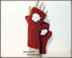 Armstulpen handgestrickt Tweed Landhausstil