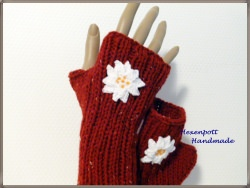 Armstulpen handgestrickt Tweed Landhausstil