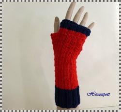 Stulpen handgestrickt Merino rot-blau