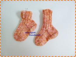 Babysocken handgestrickt ♥ mit Baumwolle Gr.17-19