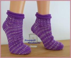 Socken handgestrickt aus handgefärbter Wolle Gr. 39-40