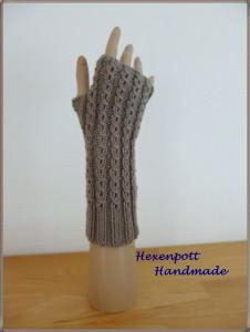 Armstulpen handgestrickt Merino taupe