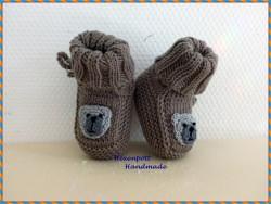 Handgestrickte Babyschuhe Merino Teddy Gr.2