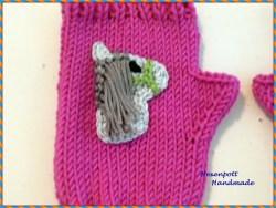 Kinderstulpen Merino  pink Pony 16 cm mit Daumenausschnitt