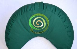 Meditationskissen-Halbmondkissen *Waldspirale* bestickt mit Dinkelspelzfüllung