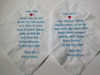 Freudentaschentuch nach Wunsch bestickt ***Hochzeit***