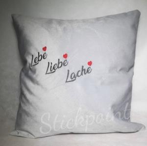 ♡  Kissen bestickt LEBE LIEBE LACHE ♡