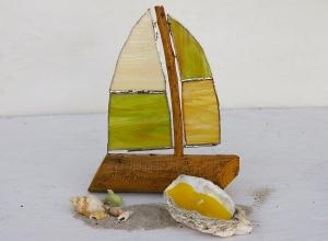 Segelschiff aus Treibholz und Tiffanyglas als Geschenkset mit Muschelkerze und maritimer Deko, Geschenk, Weihnachtsgeschenk, Treibholz