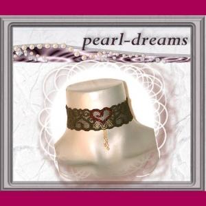 edl. Choker / Halsband / Kropfband  mit Perlen