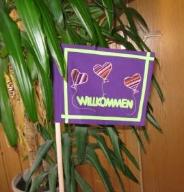 Schild: ♥Herzlich Willkommen♥