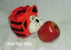 gehäkelt lunchbag Tiger Katze Apfeltasche handmade