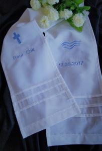 Taufschal mit Stickerei + Name+Datum Baumwolle (Kopie id: 100074996) - Handarbeit kaufen