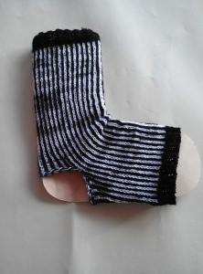 Handgestrickte  Yoga-Socken  36-37  schwarz-weiß