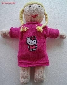 Puppe  Paula  handgestrickt mit Kleid in pink und einem Bügelbild  Gr. ca. 40cm