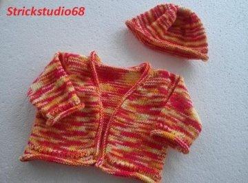 Baby-Set - Jäckchen und Mütze - Gr.56/62 - handgestrickt -bunt - weich und leicht