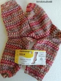 Socken - Gr. 36/37 - handgestrickt -  jaquardoptik - orange, dunkelrot, braun und natur
