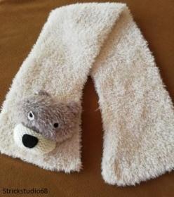 Kinderschal-handgestrickt-mit Bären Kopf-natur-kuscheliges Garn - Handarbeit kaufen